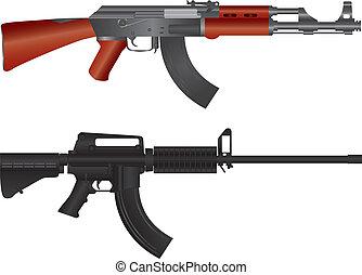 fusils, illustration, assaut