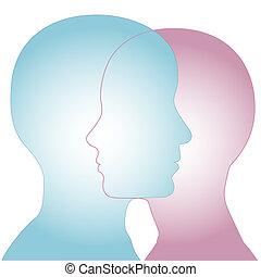 fusionner, mâle, profil, femme, faces, &, silhouette