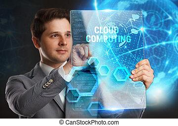 future:, mot, réseau, tablette, calculer, concept., jeune, virtuel, business, internet, homme affaires, projection, nuage, technologie