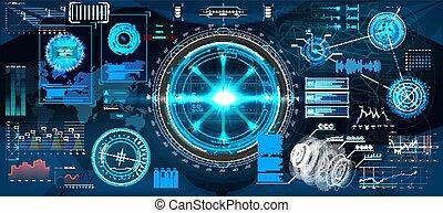 futuriste, app, business, interface, conception, hud