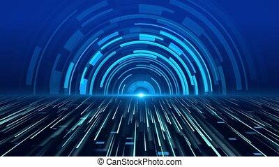 futuriste, arrière-plan., boucle, étape, interface, lumière centre, bande, bleu, hud