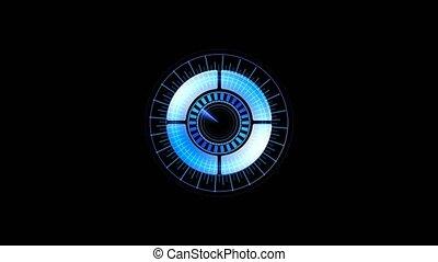 futuriste, boucle, fond, alpha, interface, channel., technologie, hologramme, technologie, sci-fi, hud