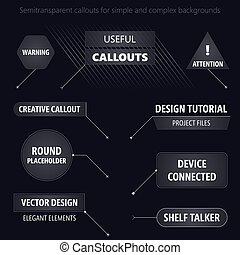 futuriste, callouts., moderne, illustration, conception, utile, style, vecteur