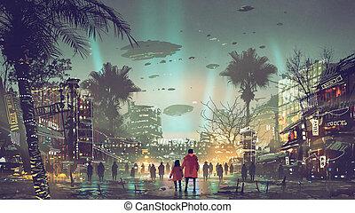 futuriste, coloré, lumière ville