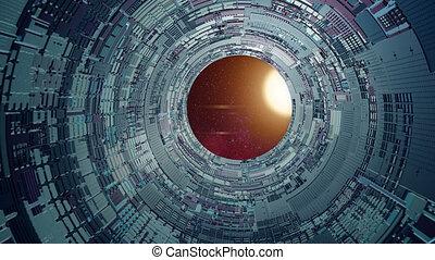 futuriste, intérieur, vue, tout, étoile, nébuleuse, vaisseau spatial