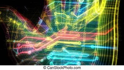 futuriste, main, cyber, animation