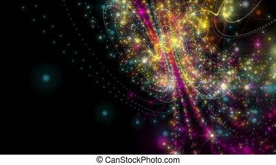 futuriste, particule, boucle, vidéo, animation, mouvement, lent, objet, chatoiement, hd, lumière, raie