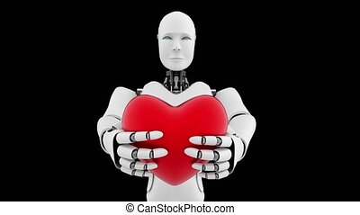 futuriste, vert, robot, artificiel, fond, intelligence, cgi, noir