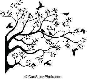 fying, arbre, silhouette, oiseau