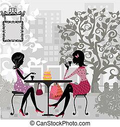gâteau, été, girl, café