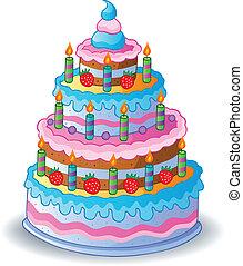gâteau, 1, décoré, anniversaire