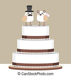 gâteau, aimer oiseaux, mariage