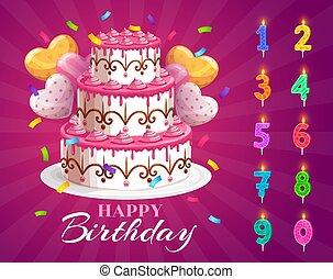 gâteau anniversaire, bougies, ensemble, âge, nombres