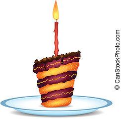 gâteau, anniversaire, fantaisie, chocolat