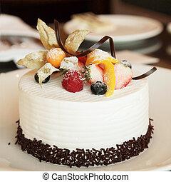 gâteau, blanc, crème