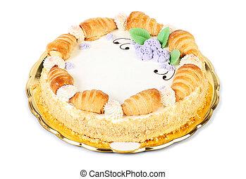 gâteau, blanc, isolé, fond