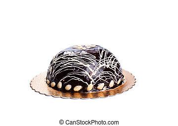 gâteau, blanc, isolé, fond, chocolat