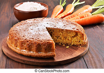 gâteau, bois, carotte, table