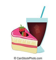 gâteau, boisson