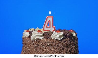 gâteau, bougie, souffler, numéro 4