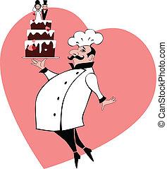gâteau, boulanger, mariage