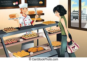 gâteau, boulangerie, achat, magasin