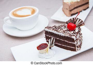 gâteau, café chaud, chocolat