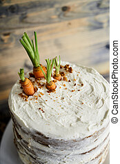 gâteau carotte, frais, carrots., vue, sommet