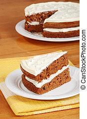 gâteau, carotte, vue, couper, sommet