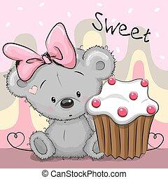 gâteau, carte, salutation, ours, teddy