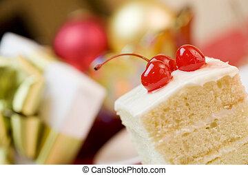 gâteau, cerises, délicieux, morceau