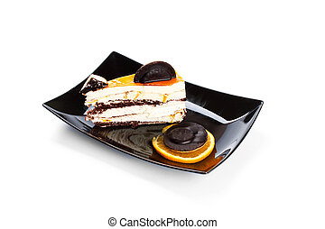 gâteau, doux, blanc, isolé, fond
