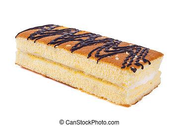 gâteau, doux, blanc, isolé