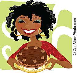gâteau, femme