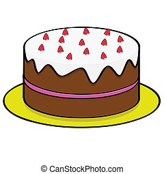 gâteau, fraise, chocolat