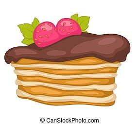 gâteau, fraises, posé couches, chocolat, dessert, vecteur