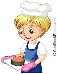 gâteau, garçon, plateau avoirs, chef cuistot, caractère, dessin animé