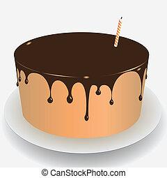 gâteau, glaçage, chocolat