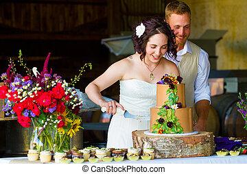 gâteau, mariée, découpage, palefrenier, mariage
