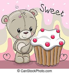 gâteau, mignon, dessin animé, ours, teddy