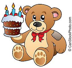 gâteau, mignon, ours, teddy