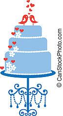 gâteau, oiseaux, vecteur, mariage