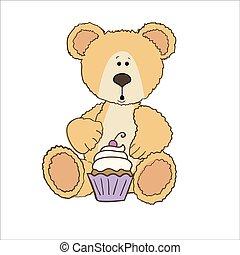 gâteau, ours peluche, tasse