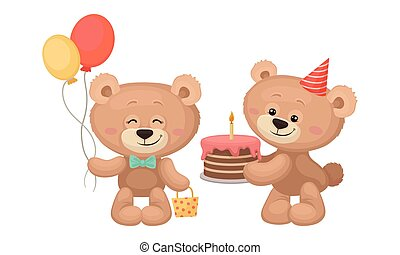 gâteau, ours, tas, teddy, mignon, vecteur, dessin animé, tenue, ballons, ensemble