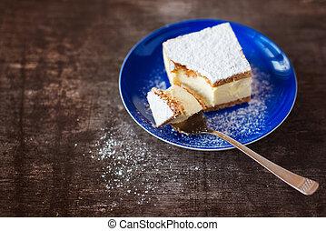 gâteau, plaque, morceau