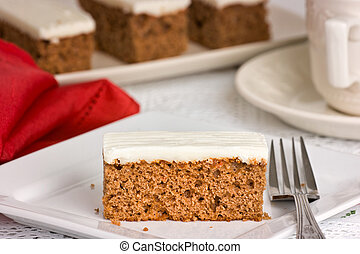 gâteau, profondeur, fork., peu profond, carotte, plaque, champ, blanc