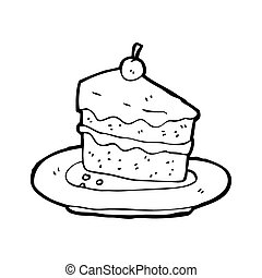 gâteau, savoureux, dessin animé
