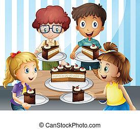 gâteau, sourire, gosses