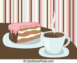 gâteau, tasse à café