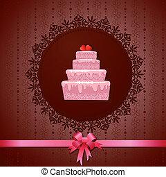 gâteau, vendange, celebratory, fond